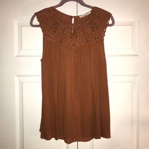 Tilly's Tan Blouse with Lace Neckline