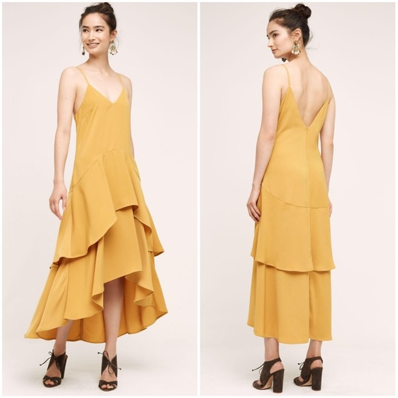 Anthropologie Dresses & Skirts - Keepsake Anthropologie Yellow Gold Ruffle Dress