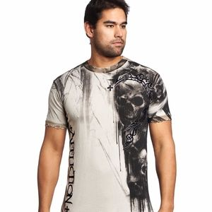 Affliction Dead Mens Crew Neck T-Shirt Tee