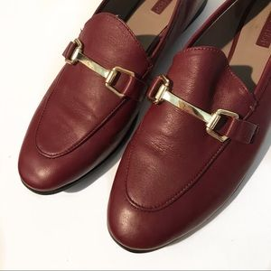 TOPSHOP women's Kendall Loafers Leather Burgundy