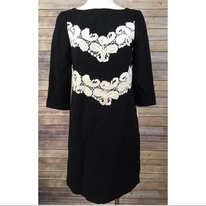 Maggy London Black Lace Embroidered Shift Dress