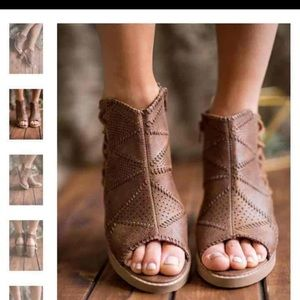 Shoes - Lace up heeled booties
