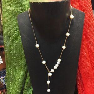 Jewelry - Handmade Pearl & Silk Thread Lariat Necklace