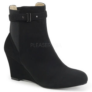 Shoes - High Heel Ankle Booties Wedge Boots Suede Black