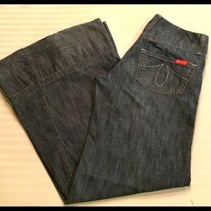 Level 99 Chambray Wide Leg Trousers. Size 26