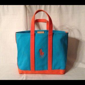 Polo Ralph Lauren Blue Orange Big Pony Tote Bag