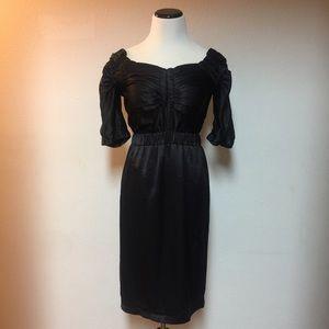 Marc Jacobs Black Ruched Satin Dress Size 2