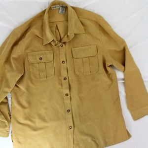 White Stag sz L tan faux suede button down shirt