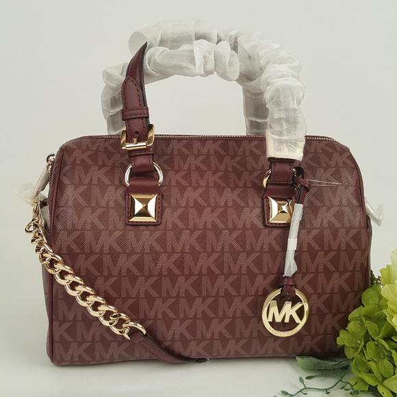 6342a558e2f8 Michael Kors Grayson chain merlot satchel bag MK