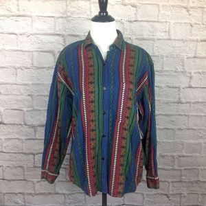 Top Large Womens Embroidered Button Down Geometric