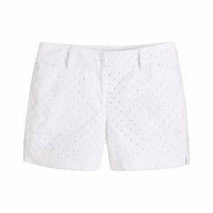 White embroidered geometric cotton eyelet shorts