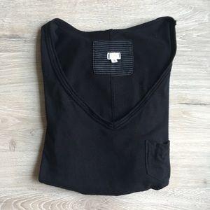 Anthropologie T.la Black V Neck Pocket Tee Shirt