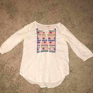 Half sleeve flowy bohemian shirt