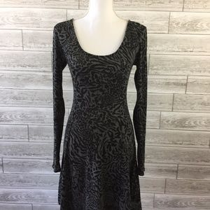 Sparkle and Fade Skater Dress Medium Gray Animal P