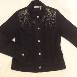 Chicos platinum embellished jean jacket