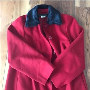 Red Wool Pea Coat with Faux Fur Collar