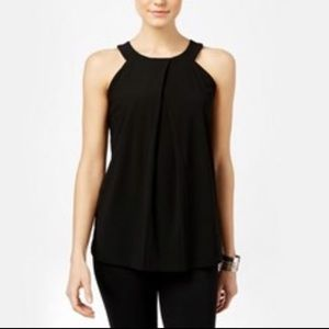 NWT INC Pleated Black Halter Tank Top- Size Medium