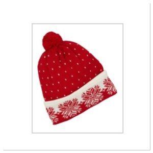 Red Snowflake Pom Pom Beanie