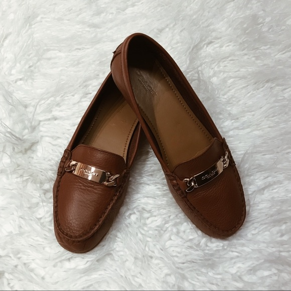 ddab88f512d Coach Shoes - Coach Olive Leather Driver Loafers in Saddle