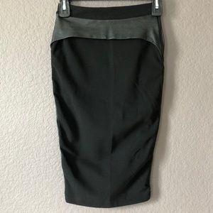 Black Stretch, Vegan Leather, Pencil Skirt by H&M