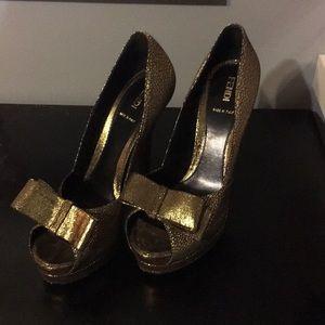 Gold Fendi Peep Toe heels