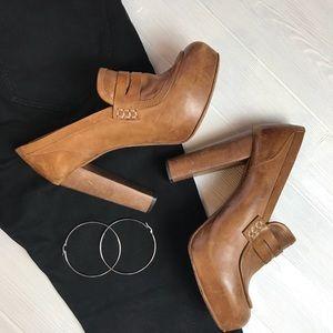 Topshop Genuine Leather Platform Loafers