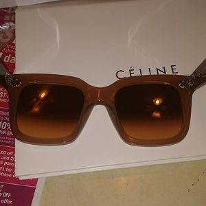 79e1c3a27d4 Celine Accessories - CELINE TILDA OPAL BROWN SUNGLASSES 100% AUTHENTIC. Celine  Sunglasses 41076 Tilda Opal Brown Tan Pink Oversized Square Frames