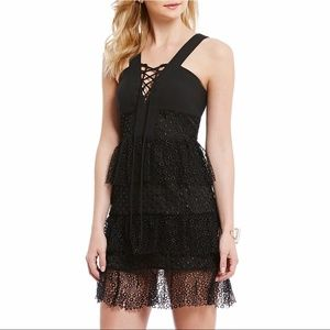Gianni Bini Black Lace Up Tiered Lace Dress NWT