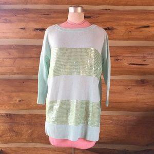 Autumn Cashmere Aqua Sequin Stripe Sweater Tunic