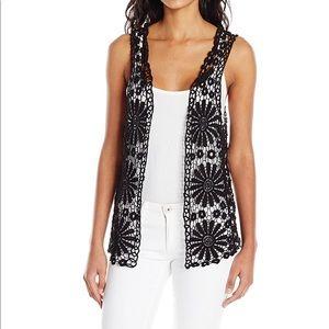 Betsey Johnson boho style daisy crochet black vest