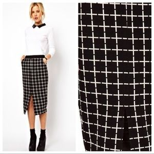 ASOS Black Ponte Pencil Skirt in Check