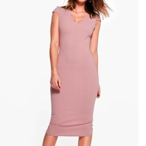 Loren Scallop Neck Cap Sleeved Midi Dress