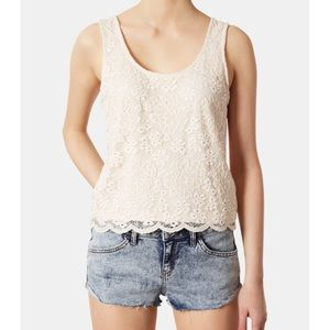TopShop White Natural Scallop Lace Tank Floral