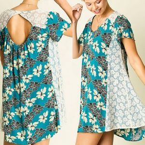 Dress Size S M L Teal Floral White Lace Tunic