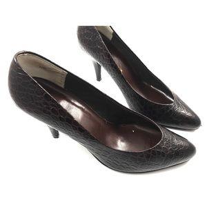 1970s dark brown moc croc leather stilettos