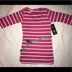 New Polo girls pink 4t striped dress