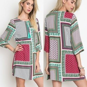 Dress Size S M L Patchwork Tunic Bell 3/4 Sleeve
