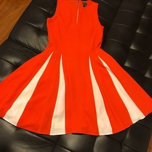 Creamsicle-color pleated day dress