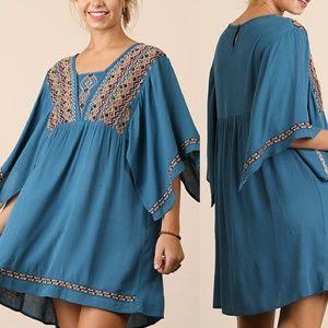 Dress Size S M L Embroidered Tunic 3/4 Kimono Slee