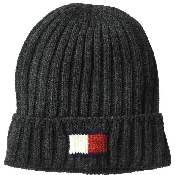 Tommy Hilfiger logo hat Beanie gray charcoal 7bbc15dd559
