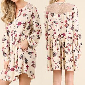 Dress Size S M L Lace Tunic Bishop Long Sleeve