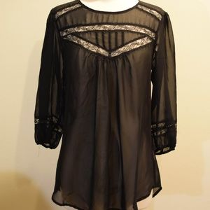 Black Blouse with Lace Details by Lily White
