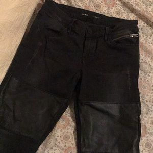 guess leather/denim black jeans