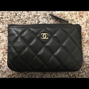Chanel Black Caviar GHW Mini O case card cosmetic