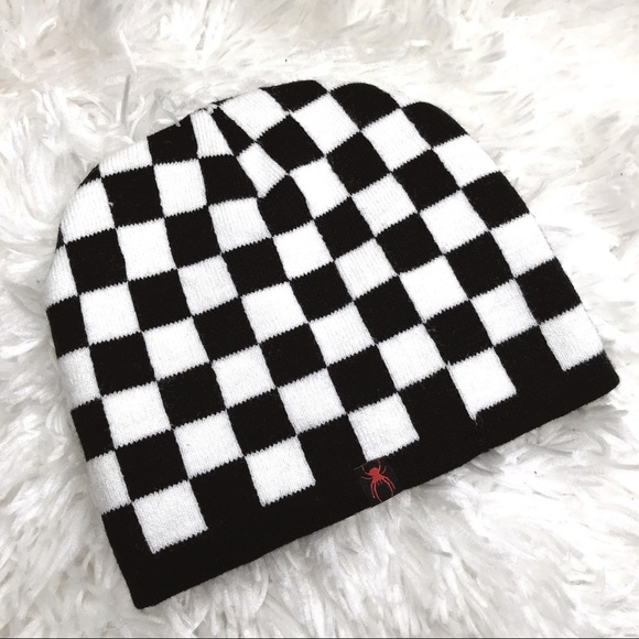 3948c752f 🔥Black & White Checkered Fleece Lined Beanie