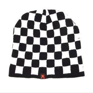 137ab4903 🔥Black & White Checkered Fleece Lined Beanie Boutique