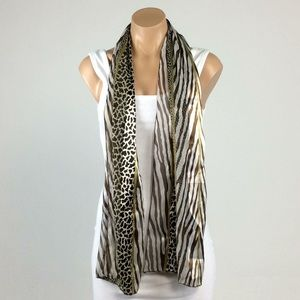 Accessories - Brown Animal Print Scarf