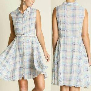 Dress Size S M L Blue Plaid Country Tunic Shift