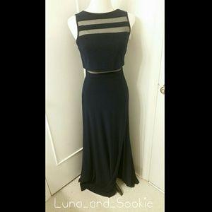 Long navy blue w/ mesh details Evening Dress