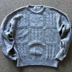 Mens Vintage Gray Cable Knit Sweater